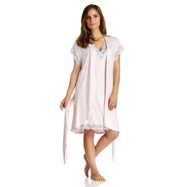 Shop Body Touch Women\'s Pink Chemise Nightgown & Robe Sleepwear Set ...