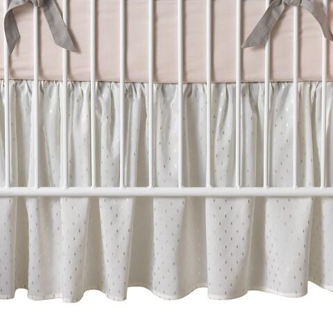 Lambs & Ivy Signature Mix & Match Metallic Crib Skirt - White, Modern, Boy, Girl, Neutral