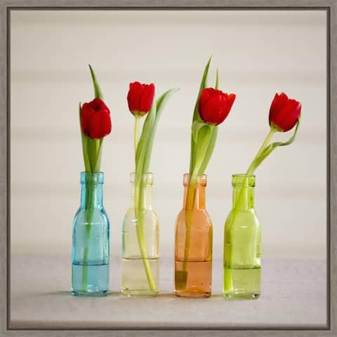 Tulips in Vases by Hollice Looney Danita Delimont Framed Canvas Art