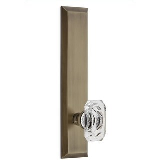 Grandeur FAVBCC_TP_PSG_238  Fifth Avenue Solid Brass Rose Tall Plate Passage Door Knob Set with Baguette Clear Crystal Knob and