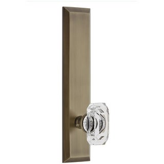 Grandeur FAVBCC_TP_SD_NA  Fifth Avenue Solid Brass Rose Tall Plate Single Dummy Door Knob with Baguette Clear Crystal Knob