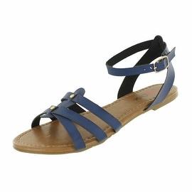 Red Circle Footwear 'Gala' Ankle Strap Flat Gladiator Sandal (Option: Padded)