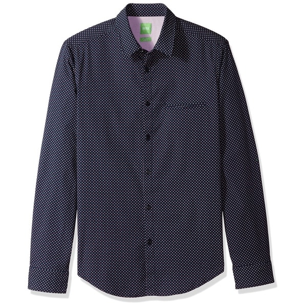 3e85cf17 Shop Hugo Boss Blue Mens Size Large L Button Down Pokeball Print Shirt -  Free Shipping Today - Overstock - 28033617