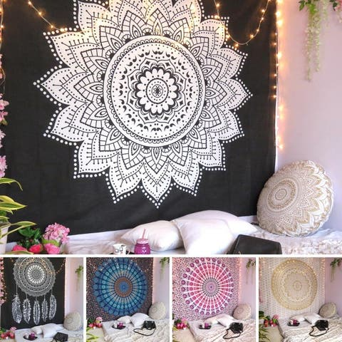 Oussum House Decor Bohemian Mandala Tapestry Wall Hanging Indian Throw Cotton Geometric Ceiling Tapestries Picnic Mat For Beach