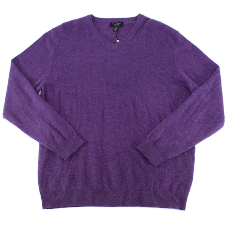 Club Room Mens Sweater Purple Size 2XL V-Neck Pullover Long-Sleeve