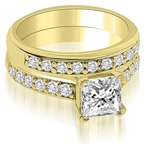 1.40 cttw. 14K Yellow Gold Cathedral Princess Cut Diamond Bridal Set
