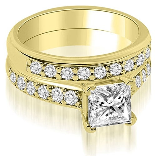 1.65 cttw. 14K Yellow Gold Cathedral Princess Cut Diamond Bridal Set