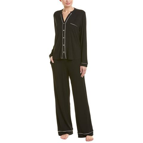 Fleur't 2Pc Silk-Trim Pajama Pant Set