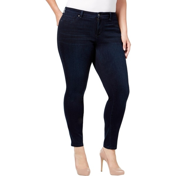 Jessica Simpson Womens Plus Kiss Me Skinny Jeans Whisker Wash Mid-Rise