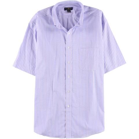 Club Room Mens Textured Pocket Button Up Dress Shirt, blue, 17