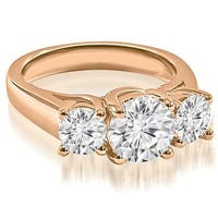 2.00 cttw. 14K Rose Gold Three-Stone Trellis Round Cut Diamond Engagement Ring