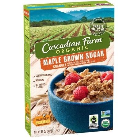 Cascadian Farm Organic Granola Cereal - Maple Brown Sugar - Case of 6 - 15 oz