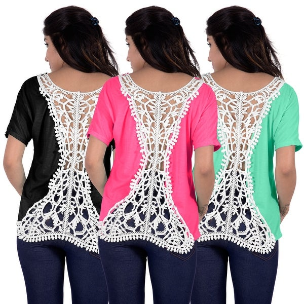 a9b84df972 Fashion Women Summer Loose Top Short Sleeve Blouse Ladies Casual Tank Tops T -Shirt Lace