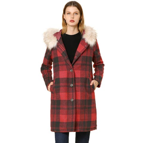 Women's Single Breasted Detachable Faux Fur Collar Plaid Coat with Hood - Red Black