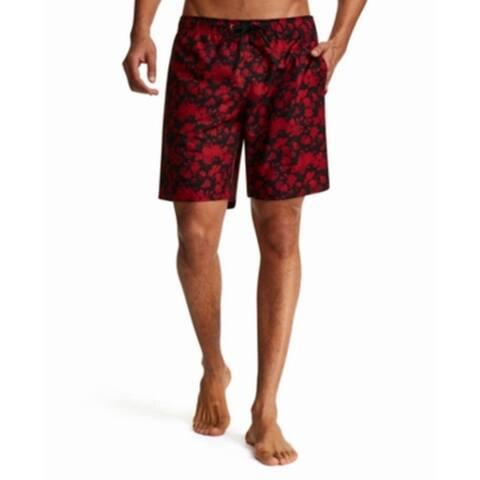 Tallia Mens Red Size Medium M Floral Print Modern Fit Swim Trunks
