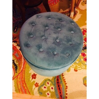 Porch & Den Riverside Large Round Button-tufted Storage Ottoman