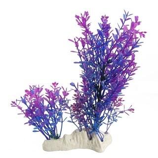 Unique Bargains Purple Blue Fish Tank Ornament Plastic Water Grass Itqhs
