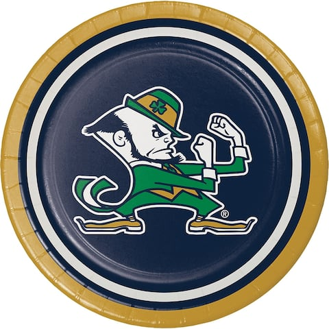 """Club Pack of 96 Green and Black Disposable Notre Dame Party Luncheon Plates 7"""""""