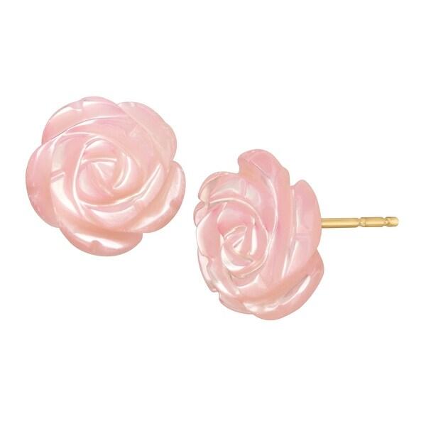 Mother Of Pearl Flower Stud Earrings