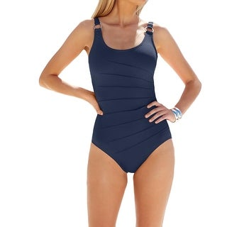 Calvin Klein Womens Pintuck Scoop neck One-Piece Swimsuit - 14