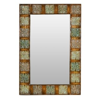 """Aspire Home Accents 74361  36"""" Embossed Metal Frame Wall Mirror - Multi-Colored"""