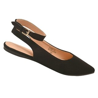 Bella Marie Adult Black Pointed Toe Open Back Ankle Strap Flats