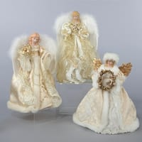 Set of 6 White and Gold Angel Christmas Tree Toppers 12""