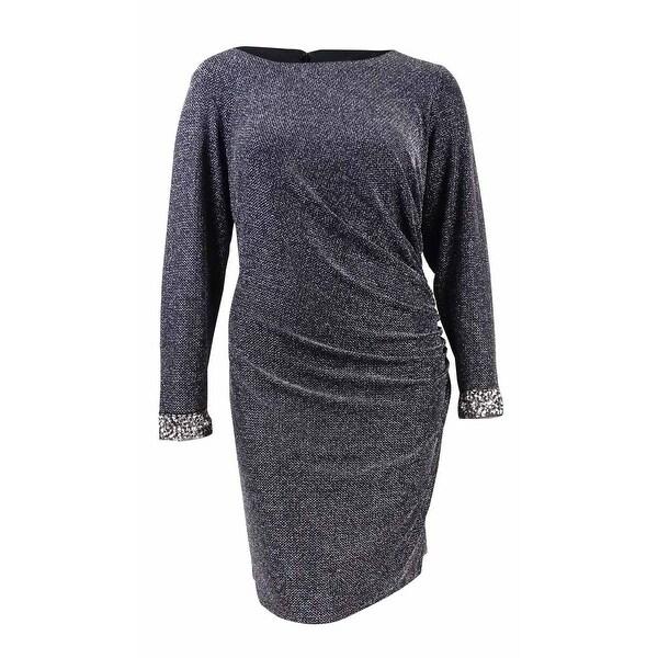 Shop Patra Womens Plus Size Metallic Ruched Sheath Dress Black