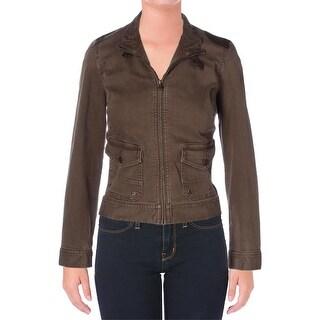 Lauren Ralph Lauren Womens Moto Coat Denim Leather Trim