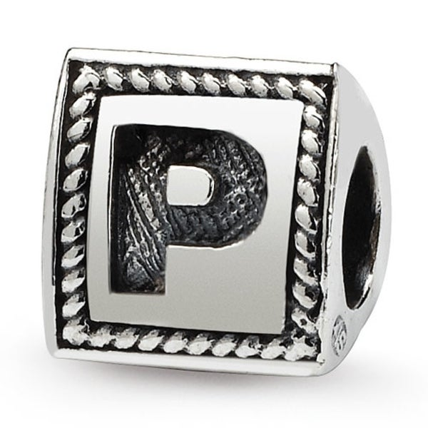Sterling Silver Reflections Letter P Triangle Block Bead (4mm Diameter Hole)
