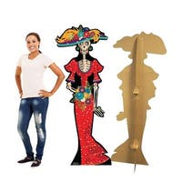 67 x 27 in. Day of The Dead Woman Cardboard Standup