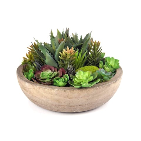 Faux Artificial Succulent in Planter with Wooden Base