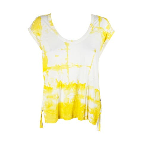 Calvin Klein Jeans Yellow Short-Sleeve Printed Scoop Neck High-Low T-Shirt L