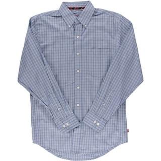 Izod Mens Road Trip Plaid Cotton Button-Down Shirt - S