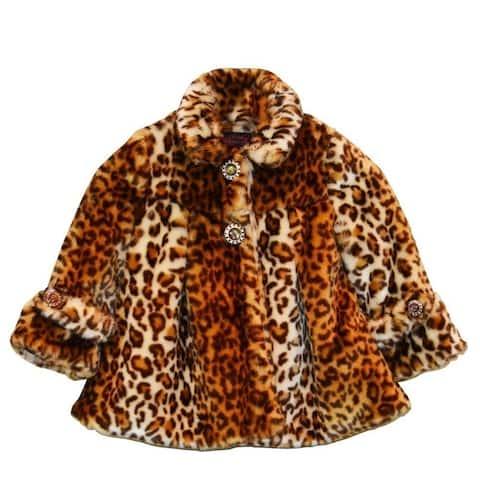 Little Girls Brown Leopard Faux Fur Coat 1T-6