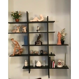 Danya B. Five Level Black Asymetric Wall Shelf