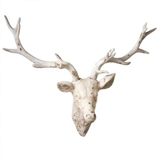 """34"""" Rustic Lodge Style Distressed Deer Head Hanging Wall Decoration - White"""