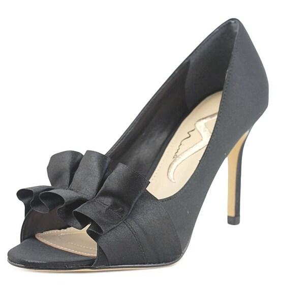 Nina Roetta Women Peep-Toe Canvas Black Heels