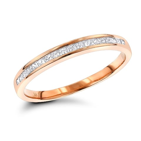 Unisex Ultra Thin Slim Wedding Band Princess Cut Diamond Ring for Men or Women 0.33ctw in 14k Gold by Luxurman