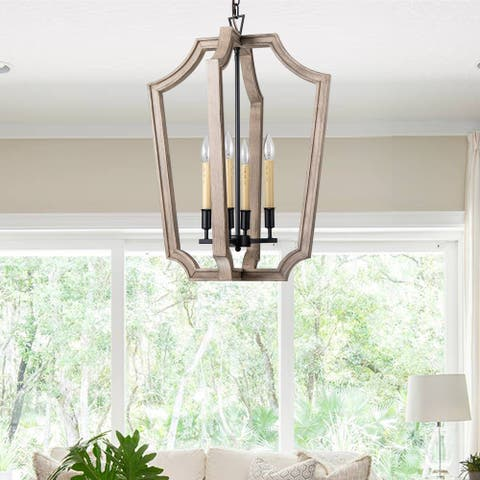 4-light Black and Natural Wood Foyer Chandeliers - Fixture Height 27in.