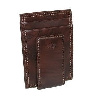 Dockers Men's Leather Slim Front Pocket Wallet with Magnetic Money Clip - Brown - One Size