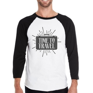 Time To Travel Mens Black Sleeve Baseball Shirt Summer Raglan Tee
