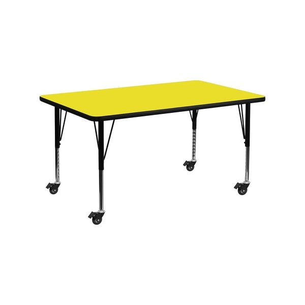"""Offex 30""""W x 60""""L Mobile Rectangular Activity Table with 1.25"""" Thick High Pressure Yellow Laminate Top and Pre-School Leg - N/A"""