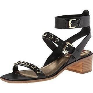 Isaac Mizrahi Womens Strap Sandals Leather Studded - 6 medium (b,m)