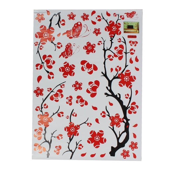 Unique Bargains Vinyl Butterfly Tree Branch Trunk Wall Art Sticker Decal Home Decor Mural Red