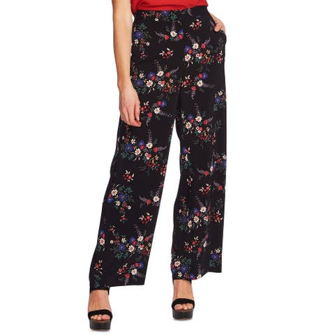 Vince Camuto Womens Pants Black Size 4 Wide Leg Floral High Rise Stretch