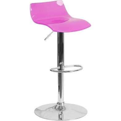 Shop Estella Clear Hot Pink Acrylic Adj Bar Counter Stool