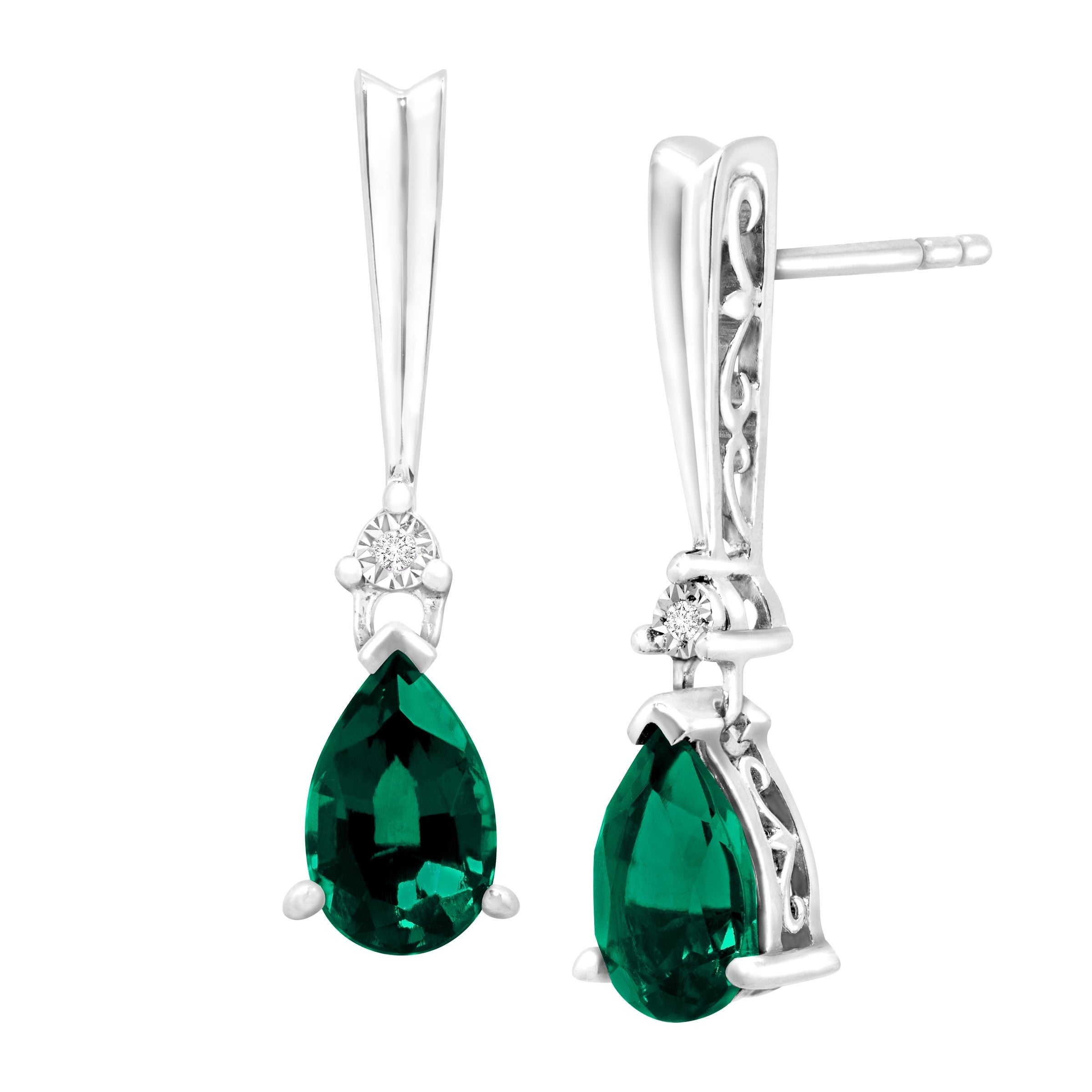 3//8 ct Natural Emerald /& 1//6 ct White Sapphire Drop Earrings in Sterling Silver
