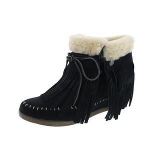 Koolaburra Womens Mocky Moc Moccasin Boots Suede/Sheepskin Wedges