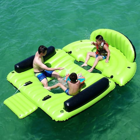 ALEKO Inflatable Floating Island Chaise Lounger with Cup Holders and Boarding Platform - 6 Person - Green and Black